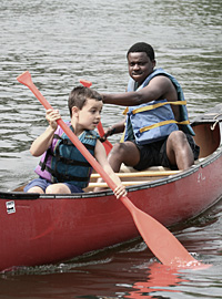 Canoeing on the lake at Camp Rockmont