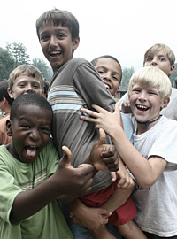 A group of boys play at Camp Rockmont
